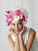 Woman in flowery hat