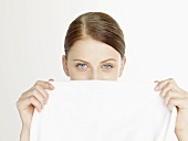 Woman with white towel