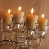 Burning candles in candelabrum