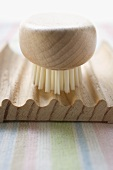 Wooden soap dish with brush