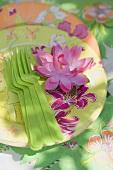 Deko für eine Sommerparty: Seerose, Pappteller, Plastikgabeln
