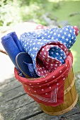 Picnic equipment in a basket for the 4th of July (USA)