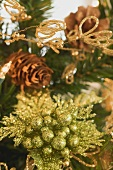Christmas tree ornaments on artificial Christmas tree