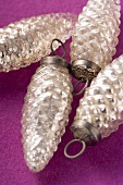 Four silver fir cones (Christmas tree ornaments)