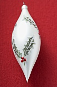 Christmas bauble (teardrop) with holly motif