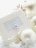 Christmas card and Christmas baubles