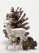 Christmas decorations (deer and cones)