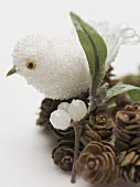 Christmas decorations (bird, twig and cones)