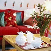 A coffee tray in a Christmassy sitting room