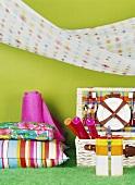 Picnic things: picnic basket, cushions, cloth and hammock