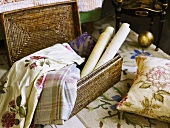 Fabrics in a basket