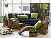 Blue sofa, wicker furniture and screen in living room