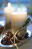 Burning candles (Christmas table decoration)
