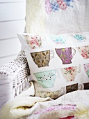 Decorative pillows with teacup pattern