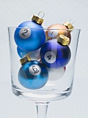 Christmas baubles with numbers in glass (billiard balls)