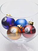 Christmas baubles with numbers (billiard balls)