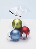 Coloured Christmas baubles to give as a gift