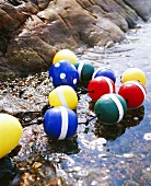 Buoys on a rocky seashore