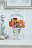 Spring flowers under a glass cloche on a shelf against a wooden wall