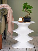 Bonsai tree on contemporary white table with concave indentations