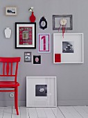 Pictures of various formats on grey wall