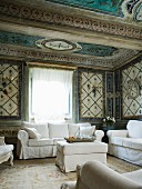 Living room with white sofa set in Italian palazzo