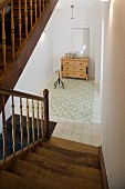 A stairway with wooden steps in an old town house