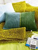 Crocheted cushions & blanket