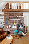 Wood-burning stove against brick wall in country-house living room
