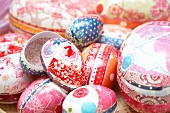 Carefully decorated egg-shaped gift boxes