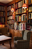 Library with bookcases & wingback armchairs