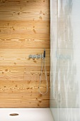 Shower with fittings on a wood panel wall