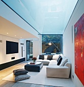 Comfortable, upholstered sofas with cushions in modern living room under glass ceiling panel