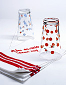 Tea towels and drinking glasses
