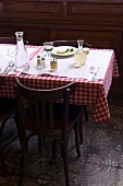A table laid in a restaurant
