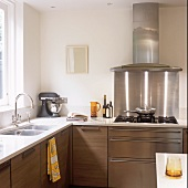 A gas hob with an extractor fan