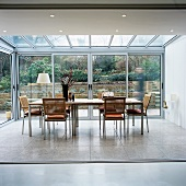 A conservatory being used as a dining room