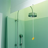 A shower cubicle with a wall-mounted and a hand-held shower head