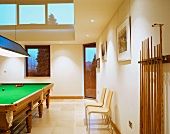 A billiards room in a modern house