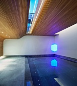 Swimming pool in modern house with partially wood-panelled walls and ceiling with skylight