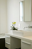 Yellow orchid on white washstand with rectangular sit-on basin and designer wall-mounted tap fittings under a mirrored cupboard