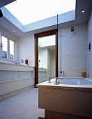 Light, modern bathroom with enormous skylight above floor to ceiling, wood-framed mirror