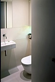 View through open door to small designer bathroom with sink and toilet
