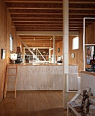 Modern Japanese house with interior platform structures and wood cladding on walls and ceiling