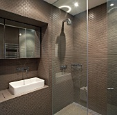 Designer bathroom with dark brown tiled walls and glass partition wall for floor-level shower