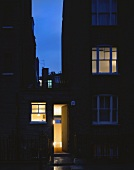 English house at night
