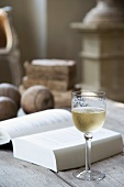 Glass of white wine next to open book on rustic table