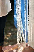 A beaded curtain