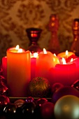 Candles and Christmas tree baubles