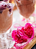 Chocolate mousse and pink carnations